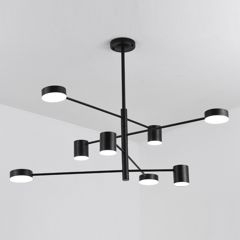 Mid Century Modern 8 Light Led Chandelier With Rotatable Arms In Modern Lighting Chandeliers Mid Century Modern Lighting Chandeliers Chandelier In Living Room