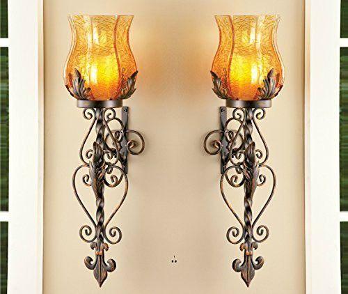Set of 2 bronze elegant scrollwork decorative hurricane amber glass candle holder sconce metal vintage style
