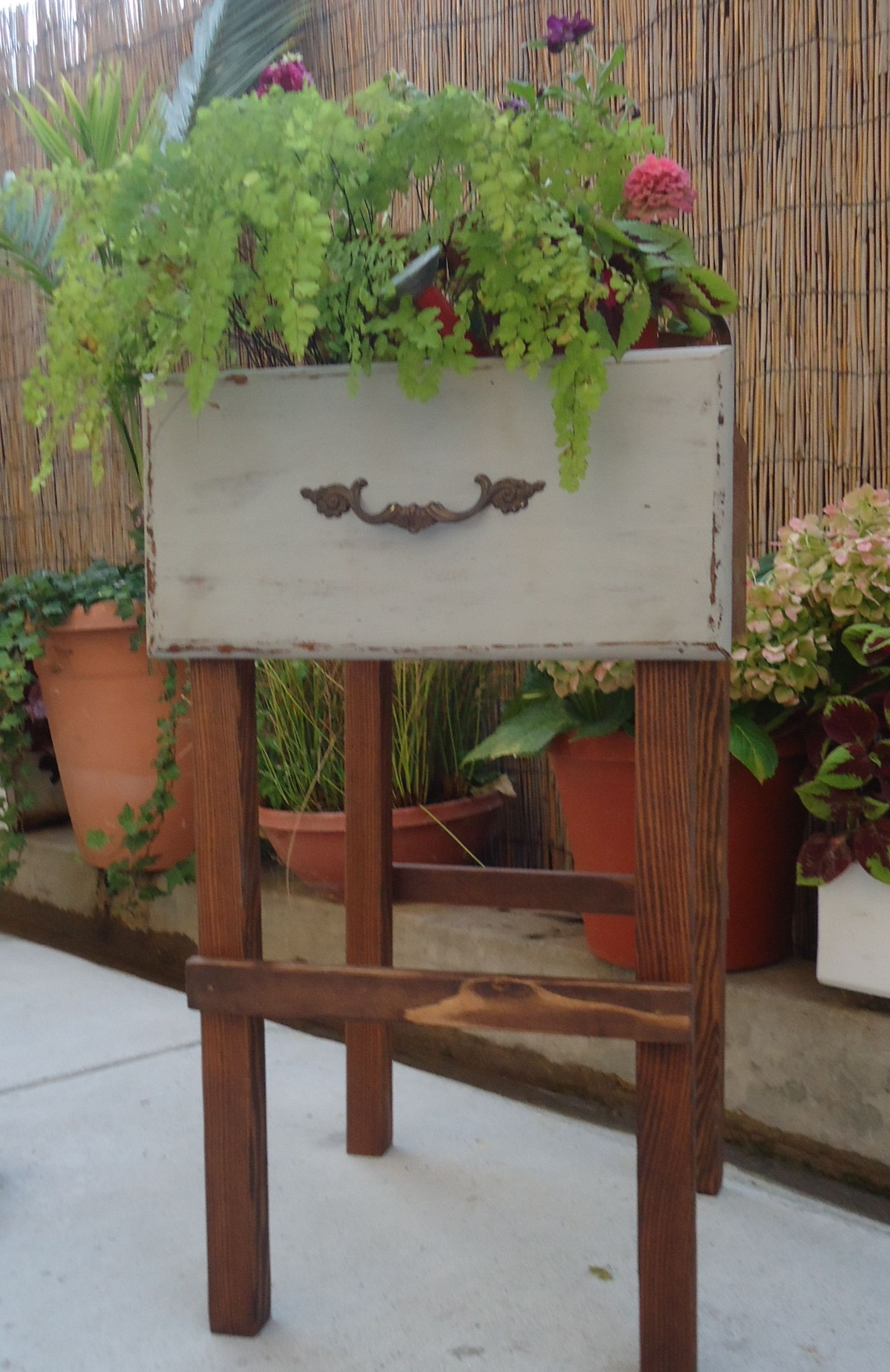 SOLD - Repurposed Old Desk Drawer into Vintage Style Plant Stand.