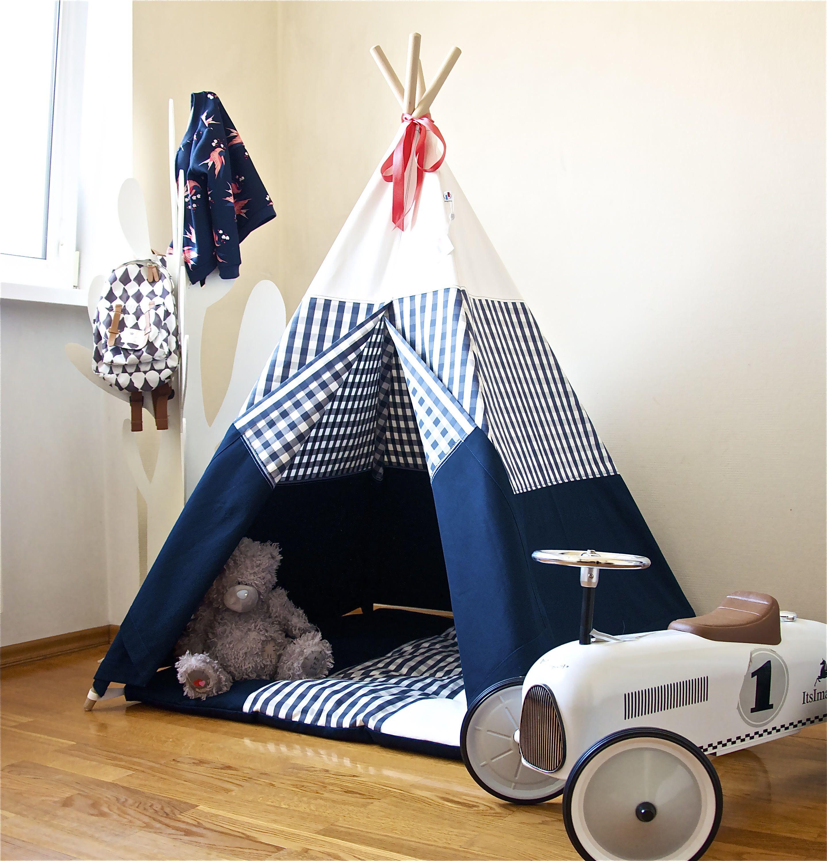 Navy blue teepee childrens teepee kids teepee play tent play