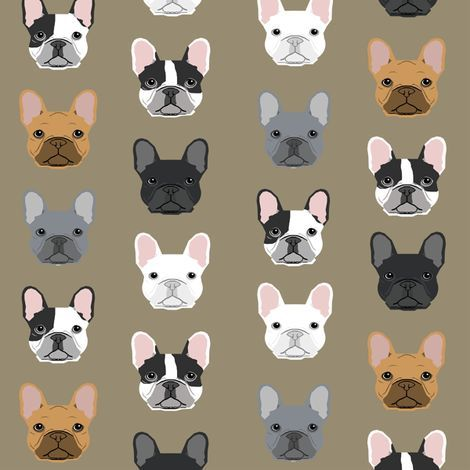 Colorful Fabrics Digitally Printed By Spoonflower French Bulldog
