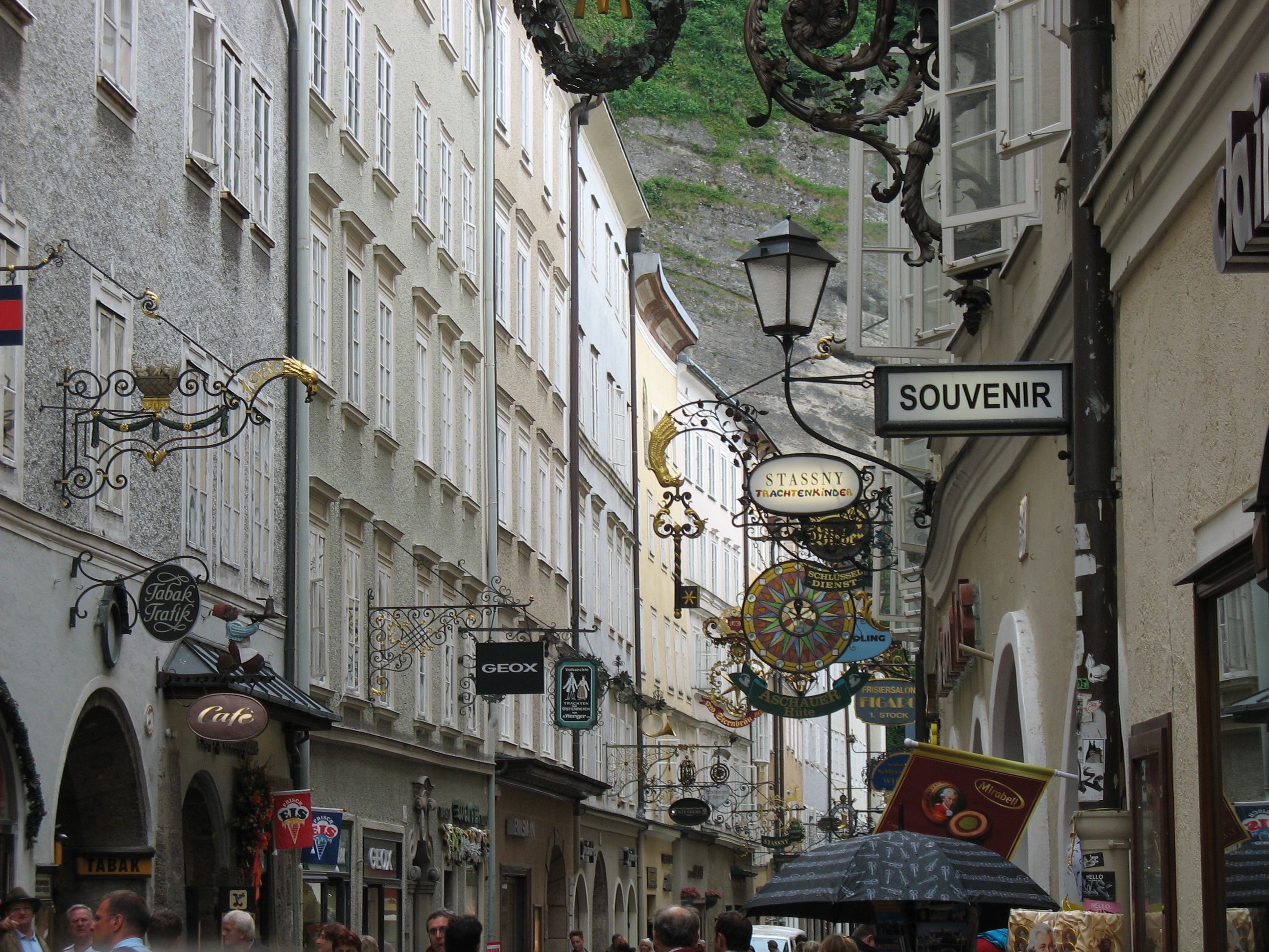 The Alstadt, the old quarter of Salzburg, Austria. Iconic
