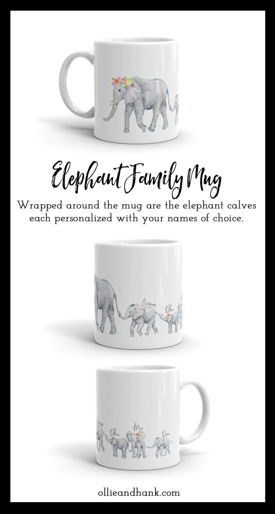 Elephant family mug birthday gift for mom from kids