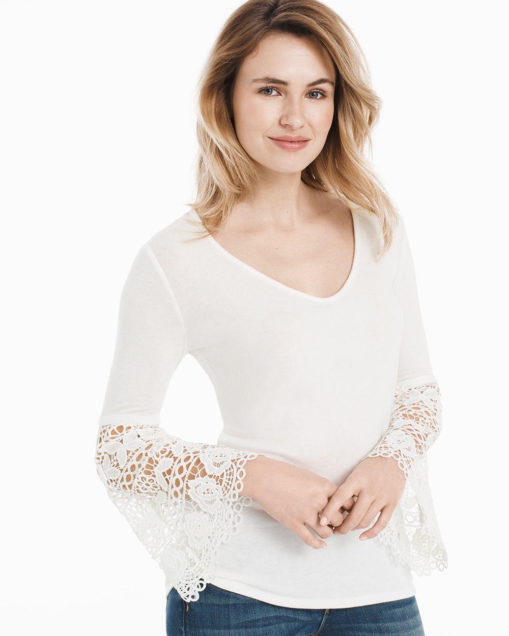 8b5cb02506927 Women s V-Neck Crochet Bell-Sleeve Top by White House Black Market ...