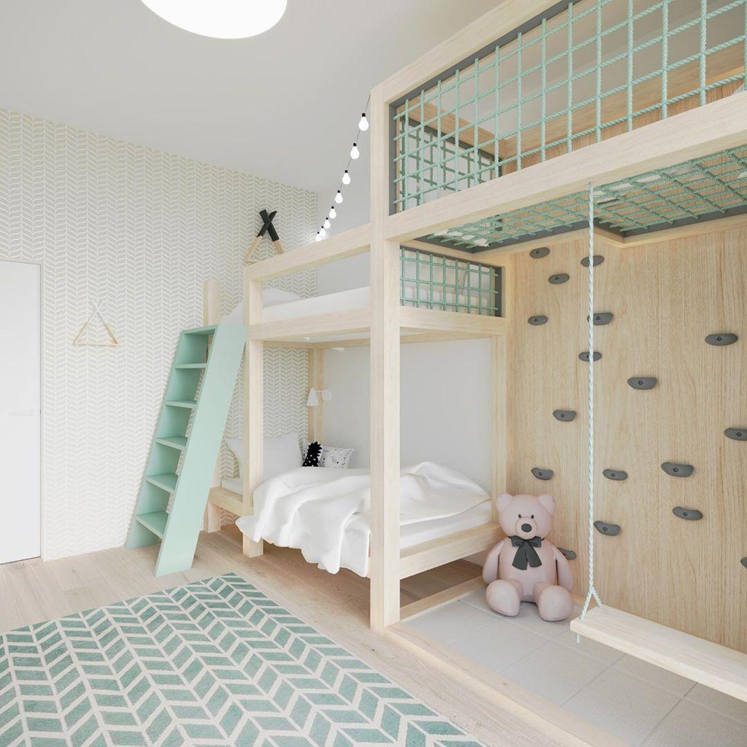 Schlafzimmer für zwei kleine Kinder. Zimmer für zwei