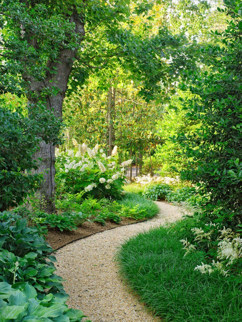 inviting garden landscaping design in small spaces: narrow pathway