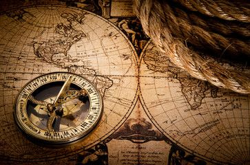 Old Compass And Rope On Vintage Map 1752 Vintage Compass Compass Rose Vintage Map