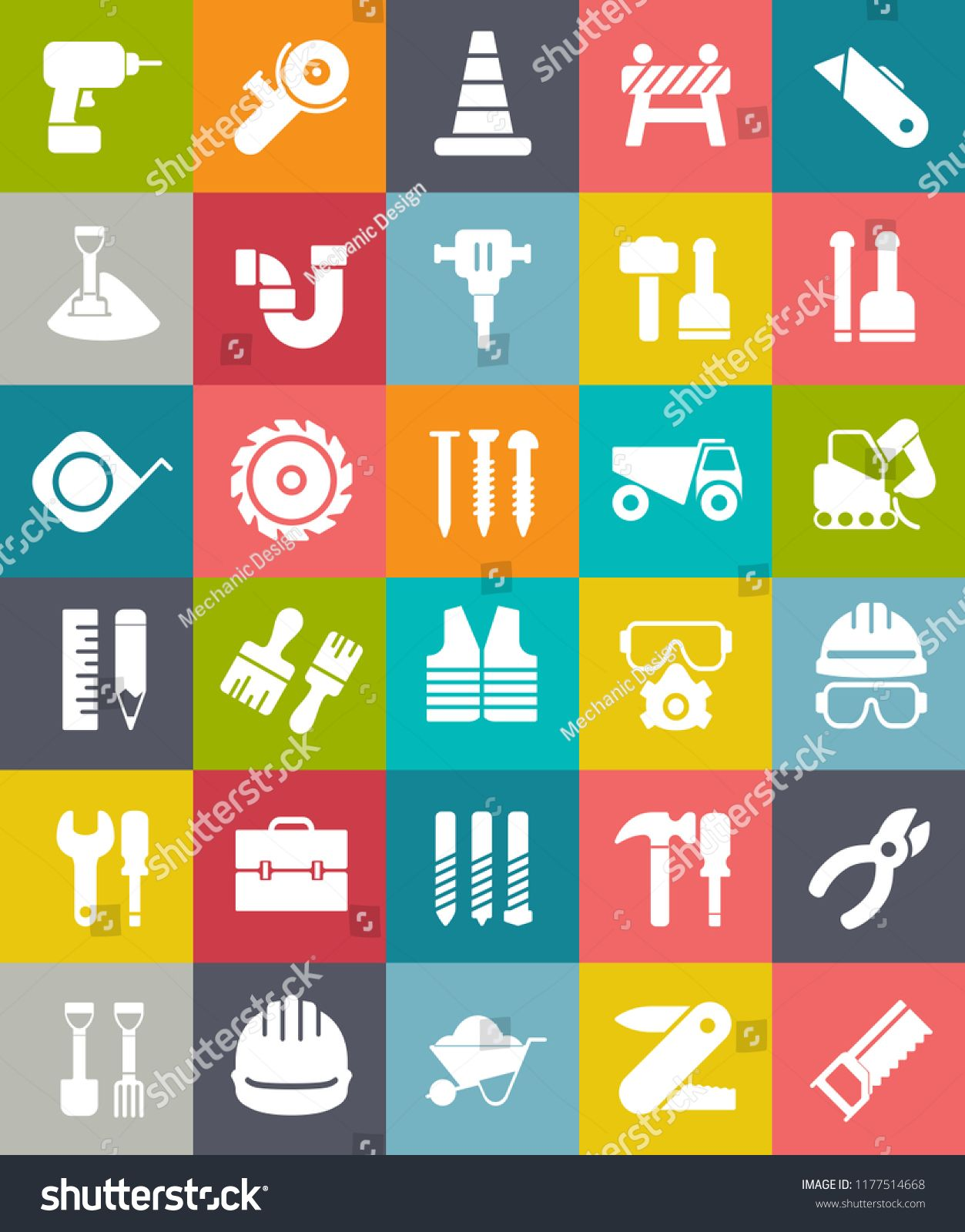 vector CONSTRUCTION ICONS SET with Traffic warning, road