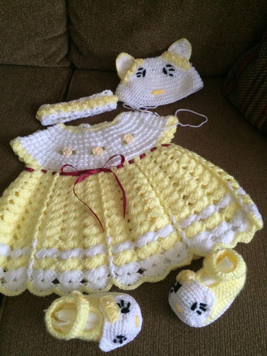 Baby dress boots hat crochet | Children\'s Crocheted Dresses ...