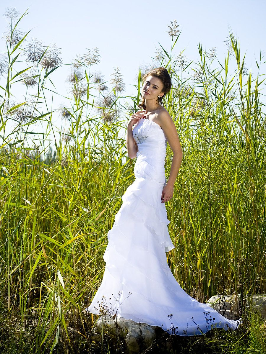 Wedding dress under 500  Strapless Organza Wedding Gown with Shrug and Chapel Train Read More