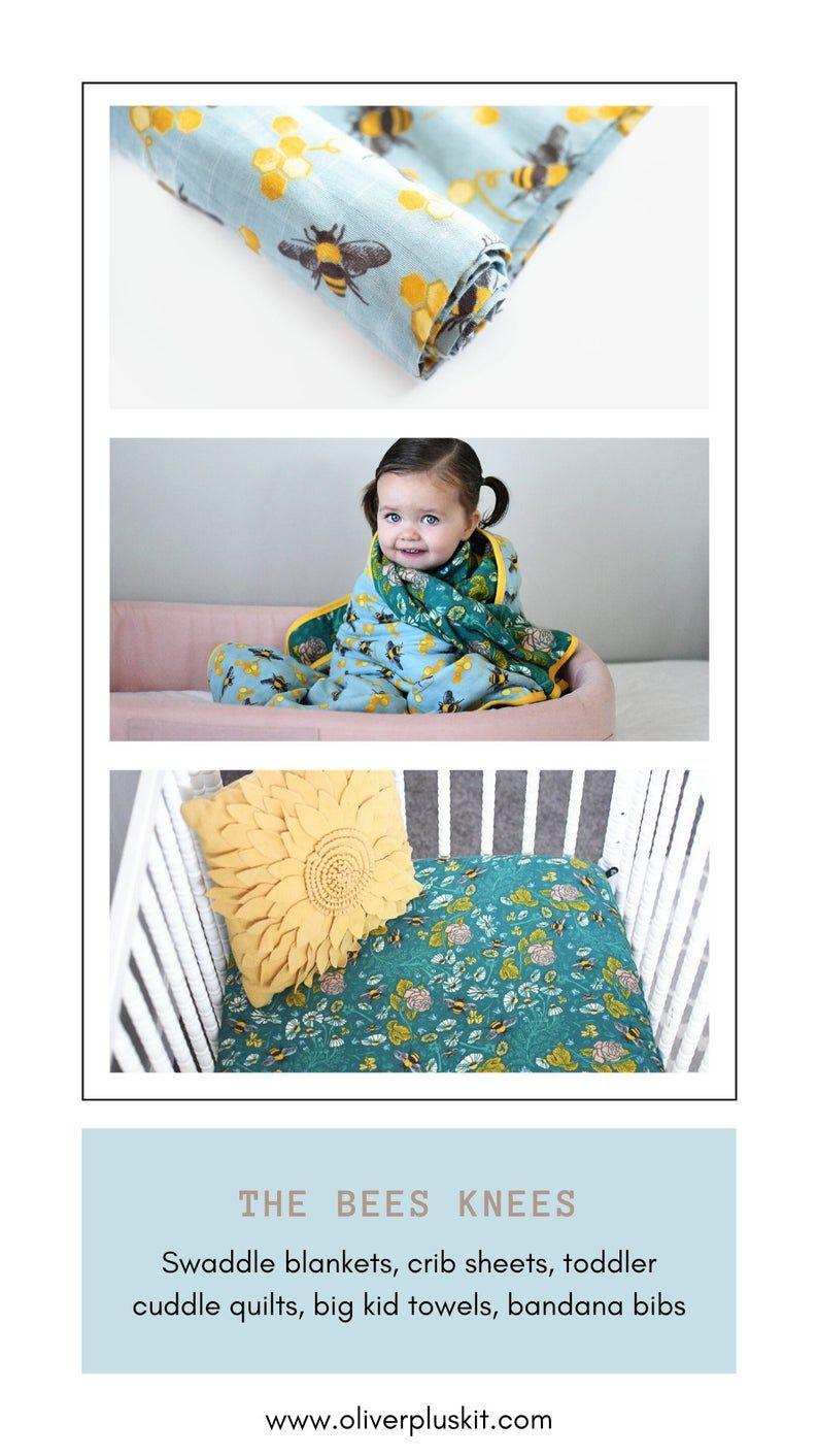 Extra Large Gauze Baby Blanket Bumble Bees