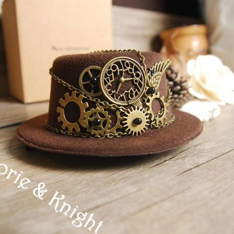 Steampunk Gear Vintage Mini Top Hat BROWN Black Wine Red  3c913d11e43e