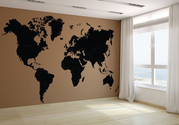Wall vinyl world map decal removable vinyl mural sticker geography sale wall vinyl world map decal removable vinyl mural sticker gumiabroncs Images