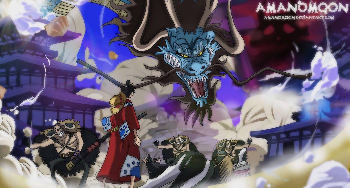 One Piece Wano Kuni Anime Luffy Vs Kaido Dragon By Amanomoon