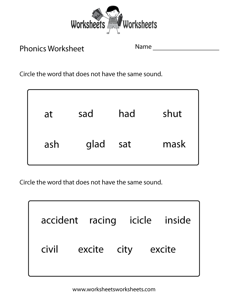 worksheet Free Printable School Worksheets first grade phonics worksheet printable the bottom part is free educational worksheet