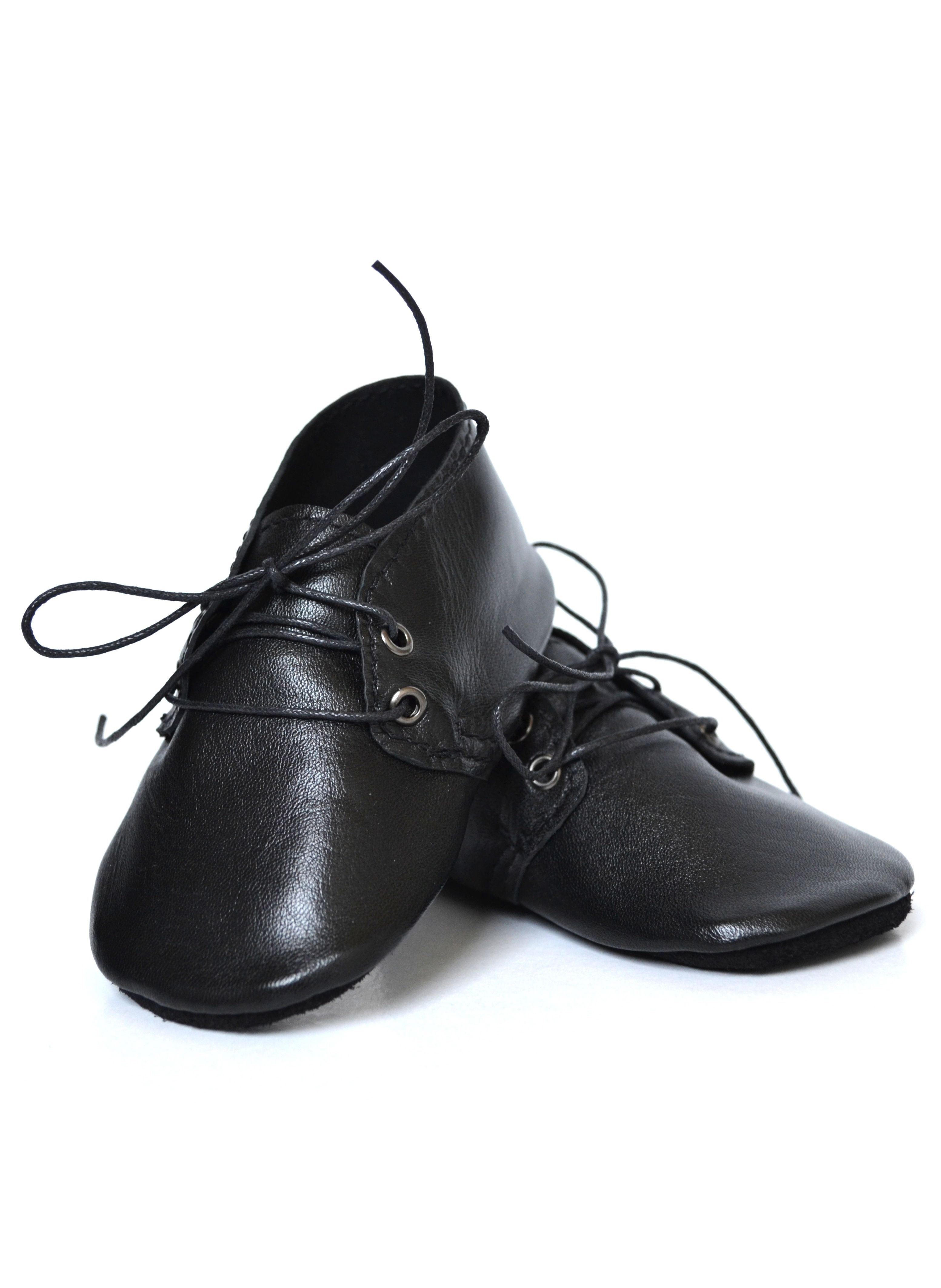 Handmade soft sole leather baby shoes Baby boy oxfords Black