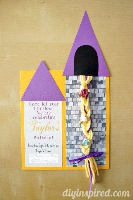 Rapunzel invitation diy with yarn hair disney party ideas rapunzel diy party invitation tutorial filmwisefo