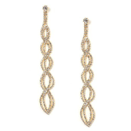 Gold Crystal Rhinestone Long Braids Shape Dangle Earrings…