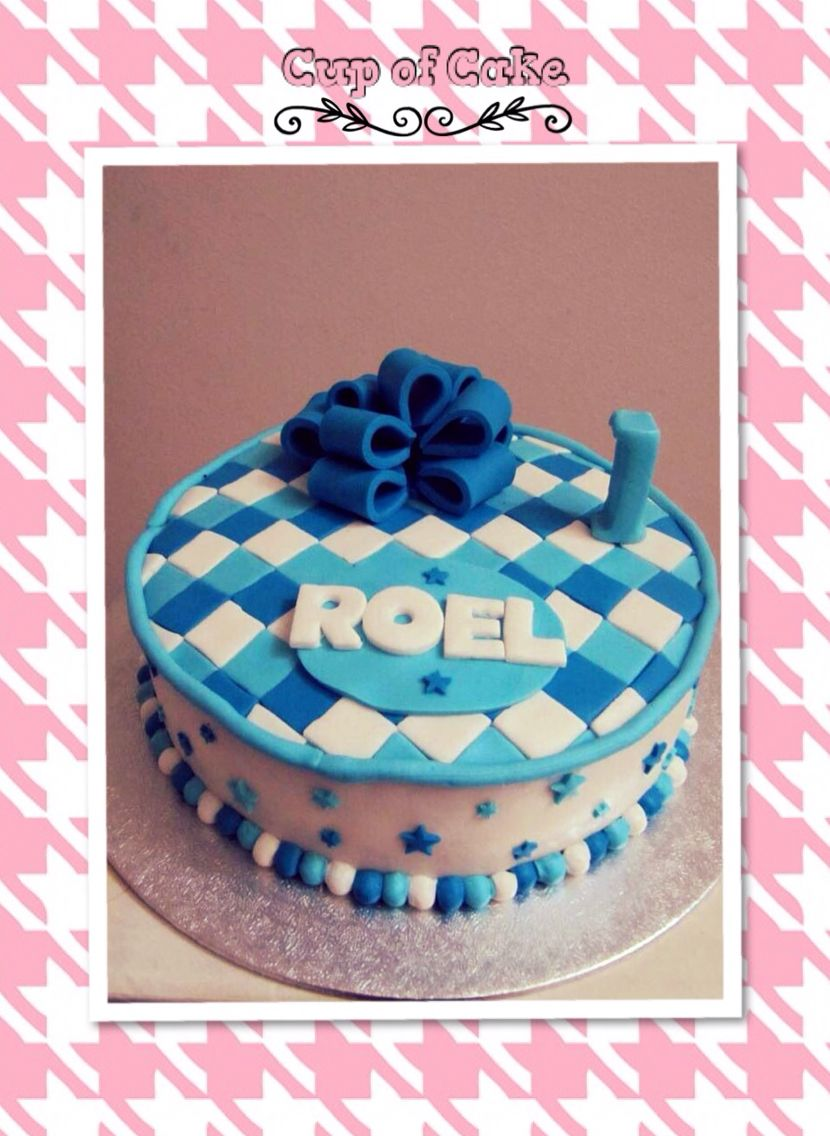 Baby boy 1st birthday blue chequered cake Checkered cake