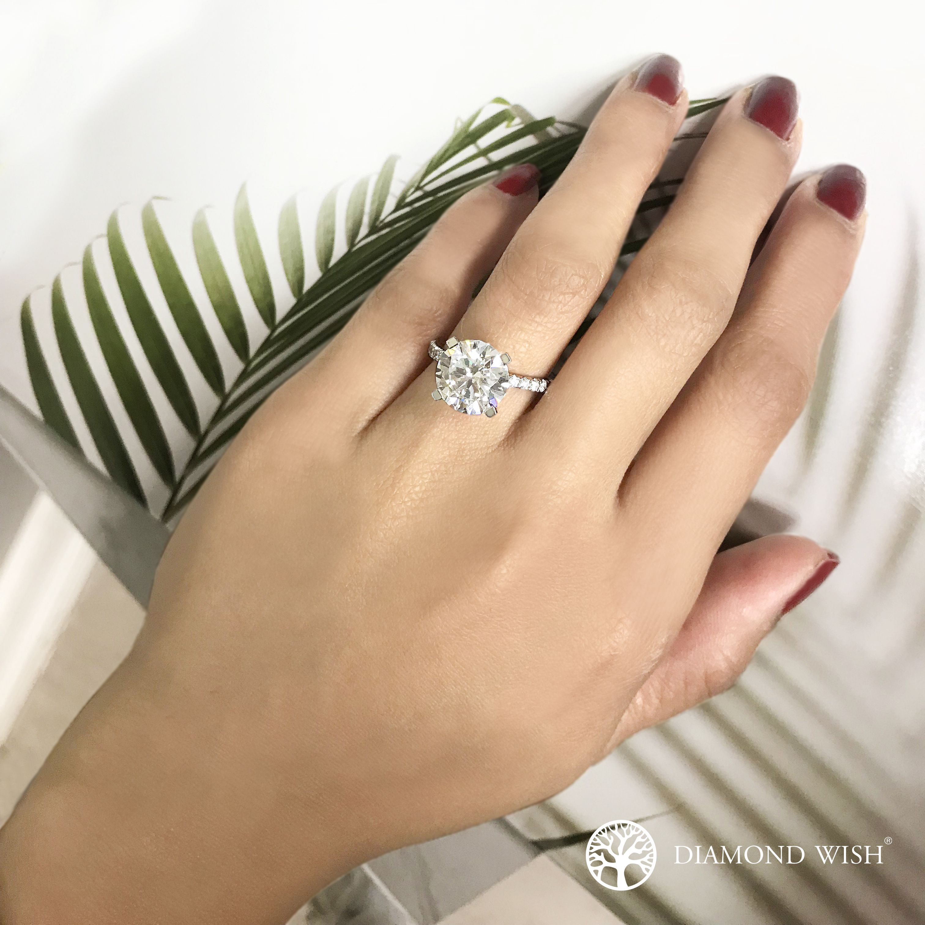 Ella Classic Moissanite Engagement Ring In 14k White Gold With 3 00 Carat Round Stone Hexagon Engagement Ring Solitaire Engagement Ring Diamond Engagement Rings