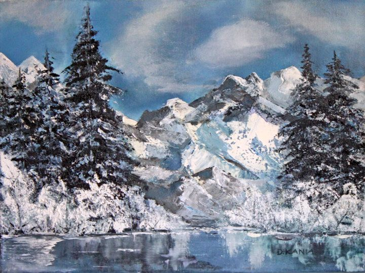 Oil Painting Of Mountains, Winter Landscape With Frozen