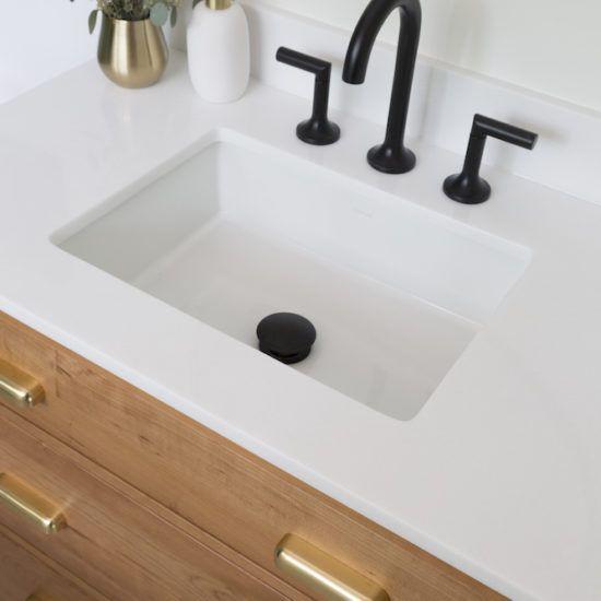 Photo of black bathroom fittings