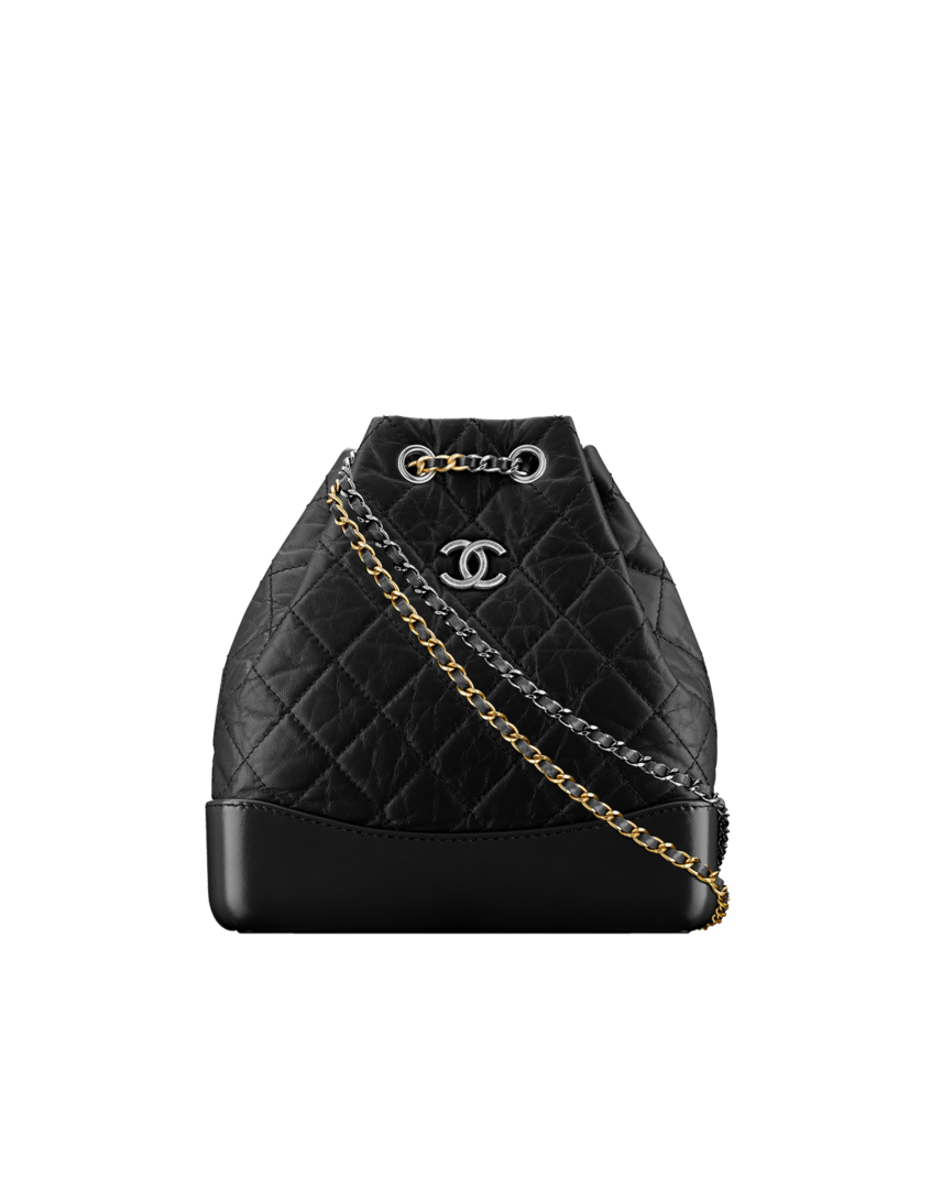 3ebc67085556e6 CHANEL's GABRIELLE Backpack, aged calfskin, smooth calfskin, silver-tone &  gold-tone metal-black - CHANEL