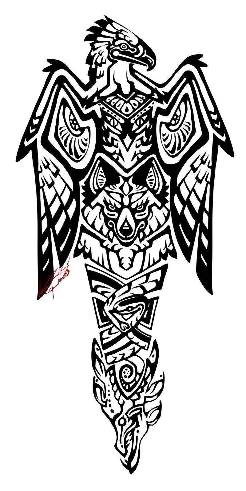 Artstation Totem Pole Tattoo Rookshock Moore In 2020 Totem Pole Tattoo Totem Tattoo Maori Tattoo Designs