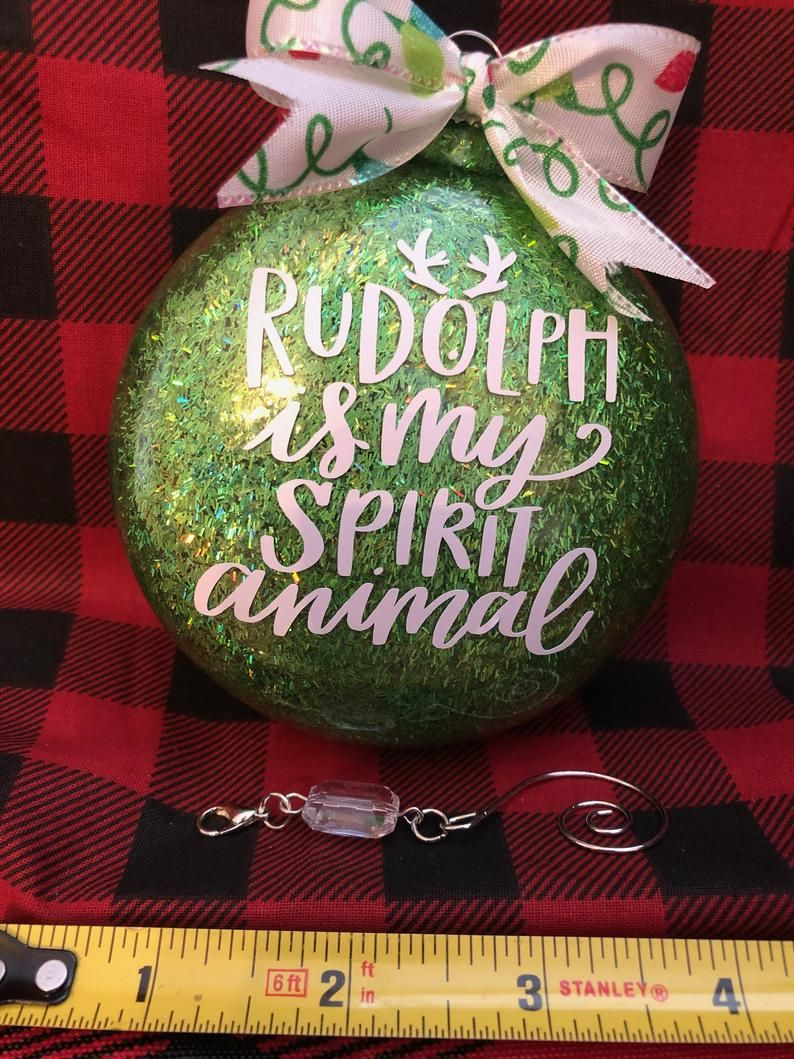 Glitter glass ornament with saying Oval glass ornament