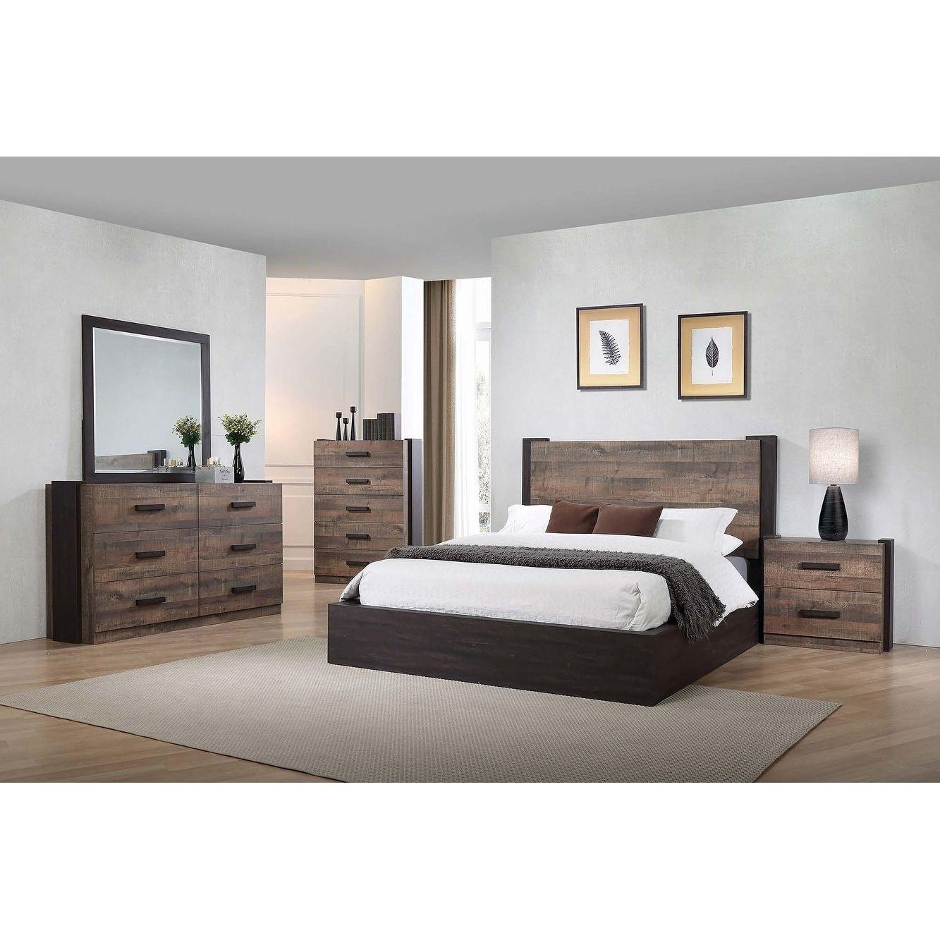 Weston Weathered Oak And Rustic Coffee 6 Drawer Dresser Brown Carbon Loft Bedroom Set Platform Bedroom Sets Bedroom Sets