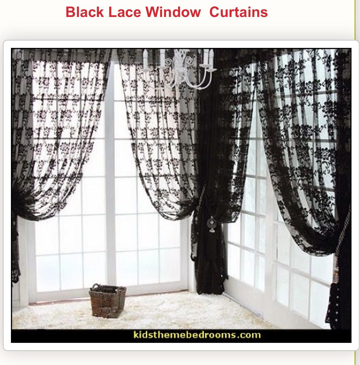 Black Lace Skull Curtains Lace Curtains Drapes Curtains Gothic