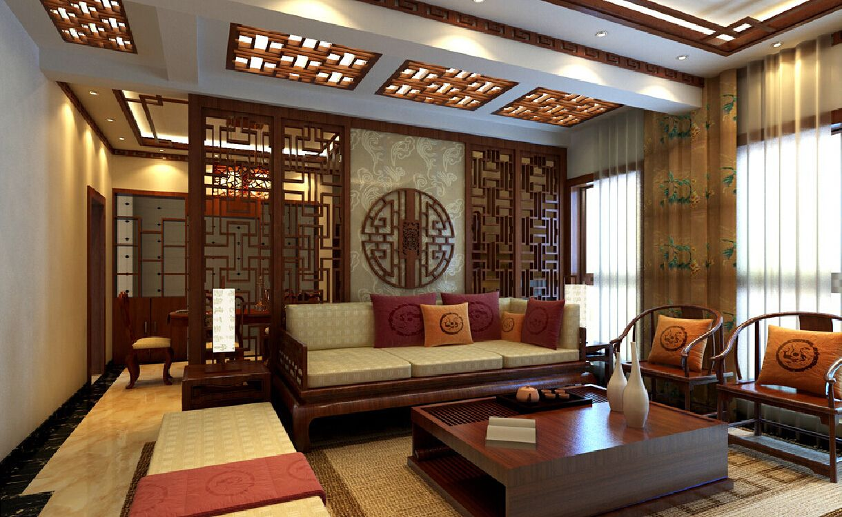 Chinese retro wooden partition for living room and dining for Interior design of living room with dining