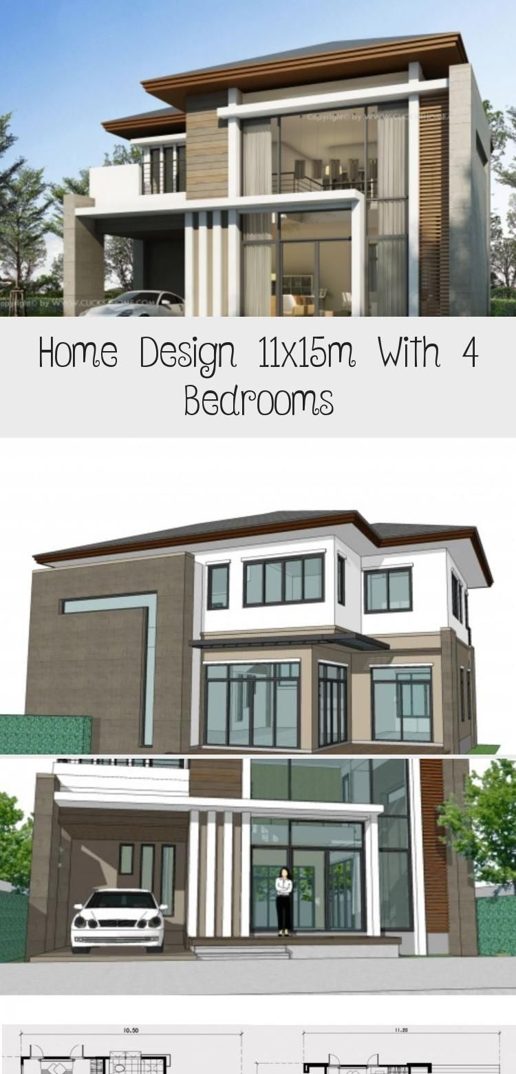 Home Design 11x15m With 4 Bedrooms Home Planssearch Floorplans4bedroombeach Affordablefloorplans4bedr In 2020 House Design Floor Plan 4 Bedroom Modern Architecture