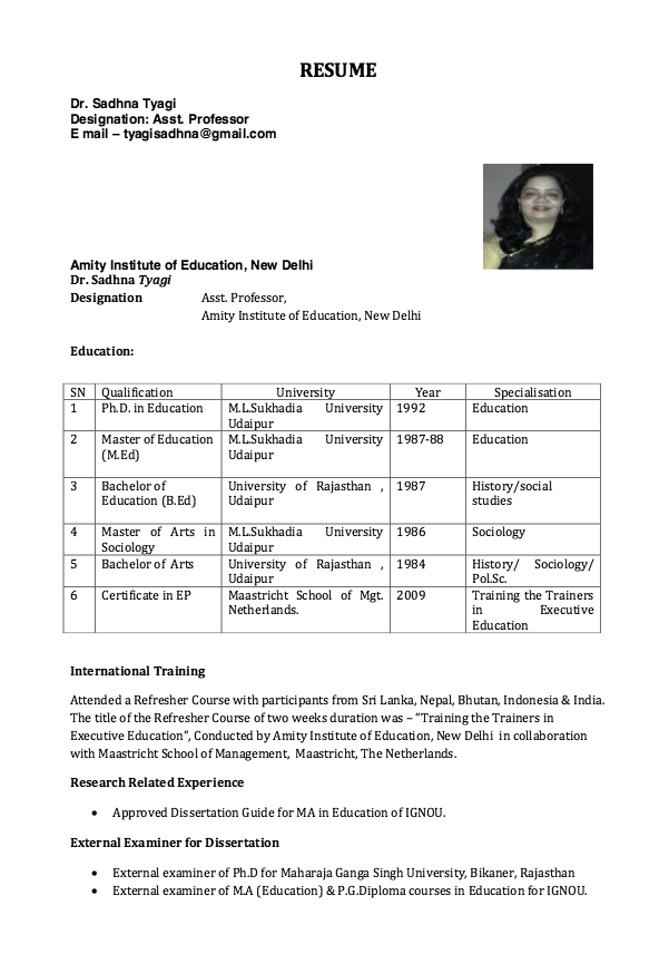 Resume For Assistant Professor Free Resume Sample Resume Free Resume Samples Resume Design Professional