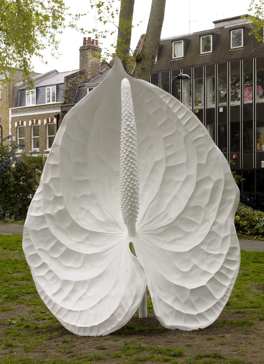 Flower sculptures marc quinn bronze painted white flower