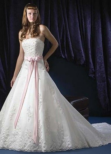 white and pink wedding dresses   white wedding dress with pink ...