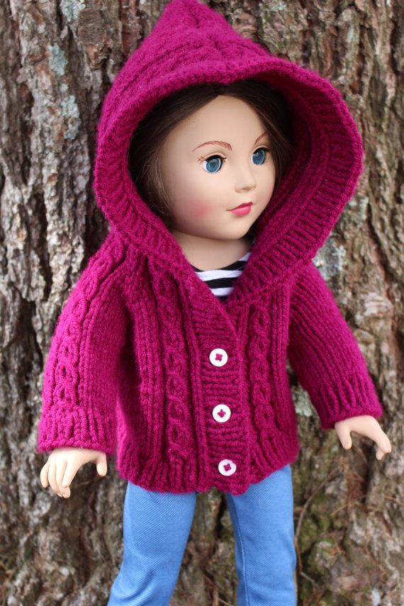 Hooded Cable Cardigan Sweater For 18 Inch American Girls Dolls on ...