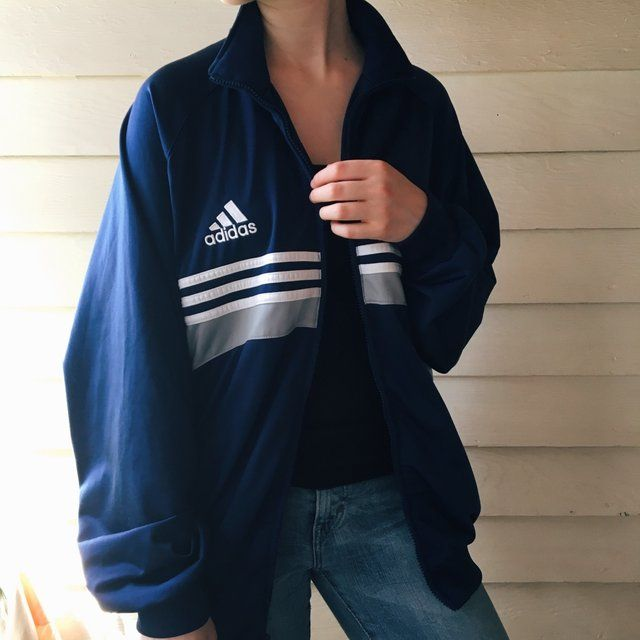 Adidas Originals Full Zip Hoodie Blueish Grey Depop