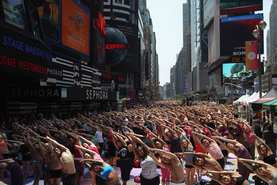 Yoga in times square.