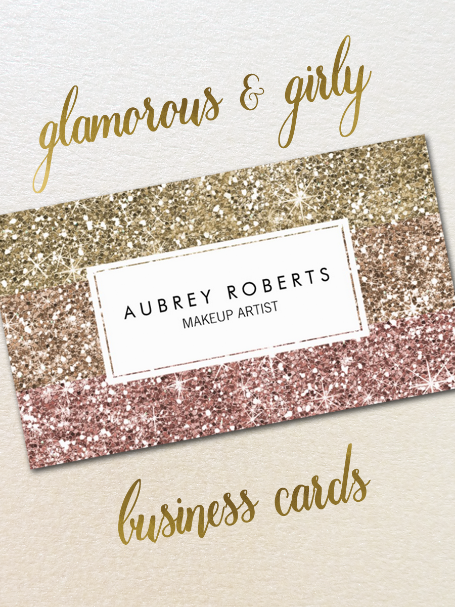 Update The Look Of Your Business Cards With These Trendy And Girly Faux Glitter Cards Girly Business Cards Makeup Artist Business Cards Artist Business Cards