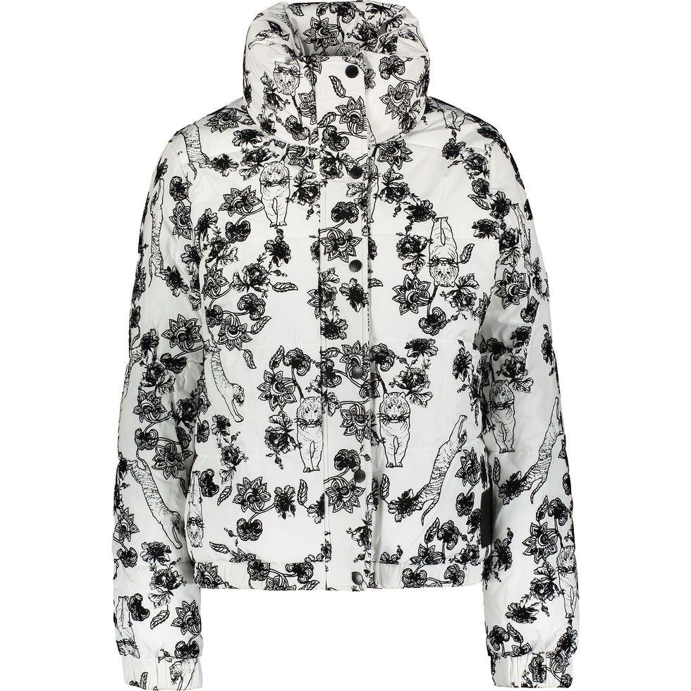 White & Black Flower Puffer Jacket | Active wear for women ...