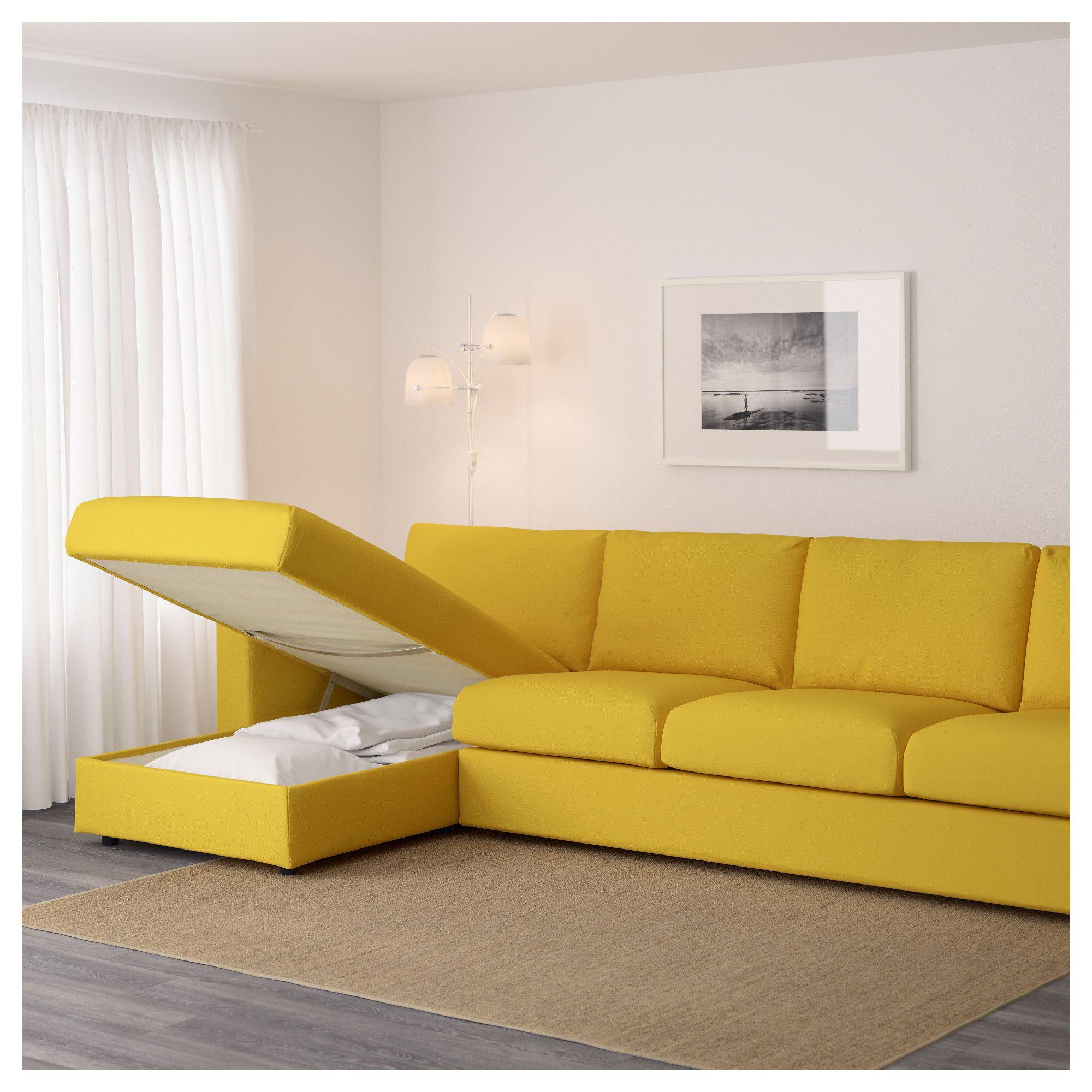 Vimle 4 Seat Sofa With Chaise Longue Gr Sbo Golden Yellow Cosy  # Muebles Bernardo Leon