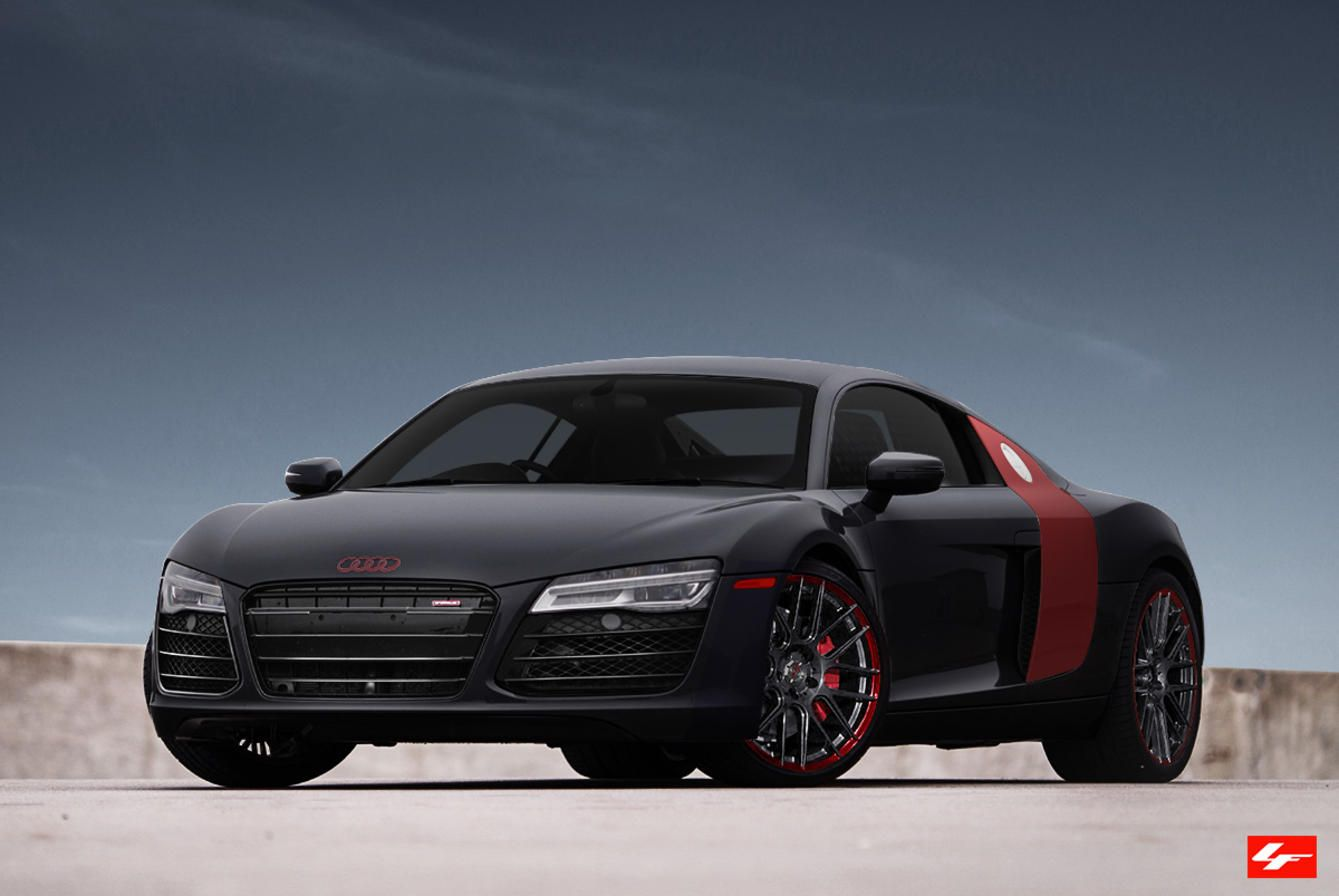 2015 black audi r8 with red accents and badges on lexani rims cars i. Black Bedroom Furniture Sets. Home Design Ideas