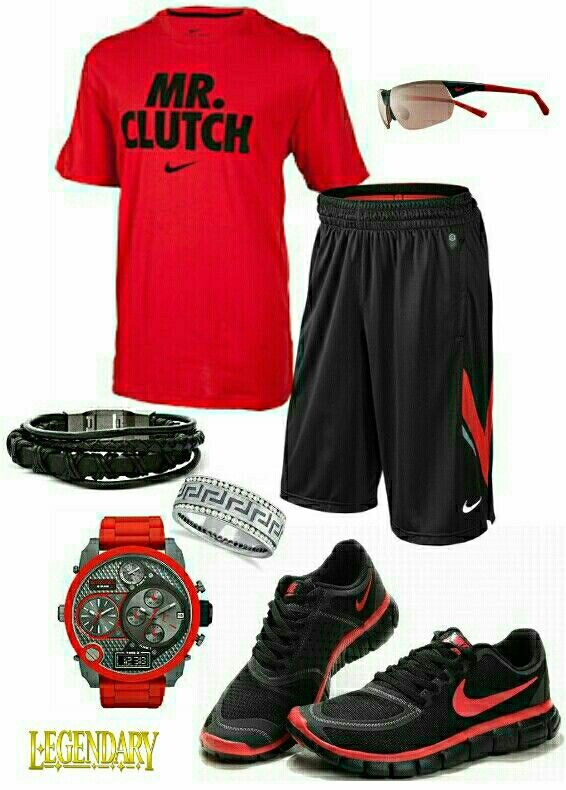 Men\u0027s fashion red black nike outfit, again, I\u0027m good without