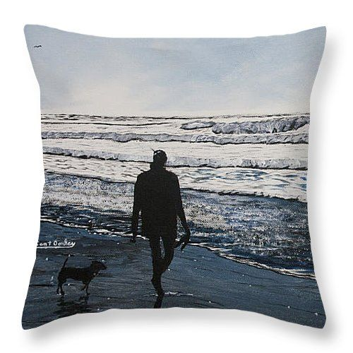 """Girl and Dog Walking on the Beach Throw Pillow 14"""" x 14"""""""
