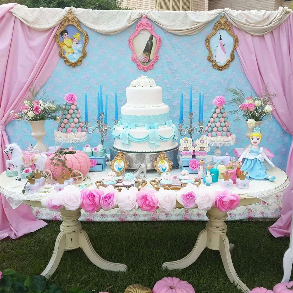 Amazing Dessert Table And Backdrop At A Cinderella Birthday Party