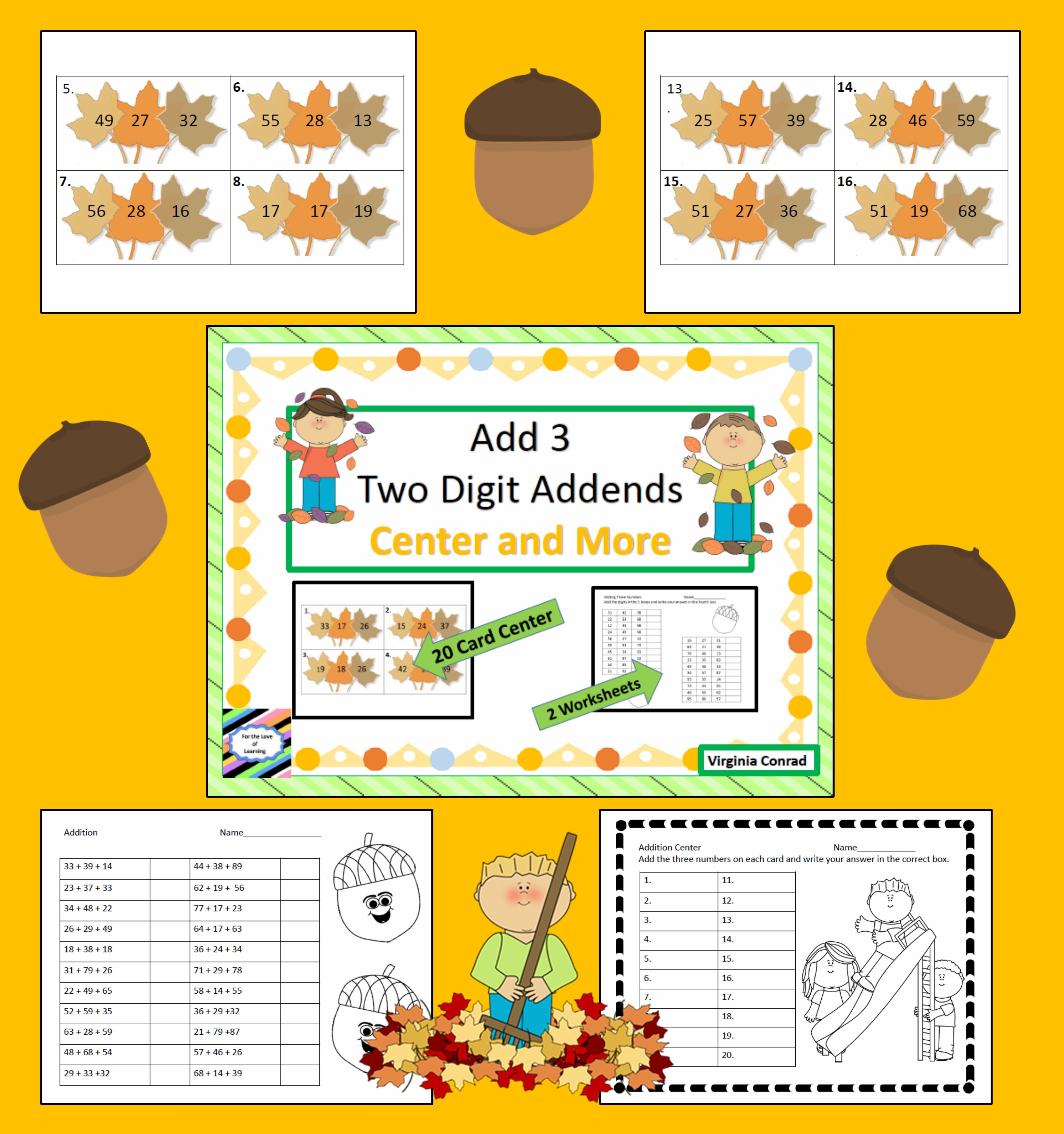Adding 3 Two Digit Addends Fall Theme