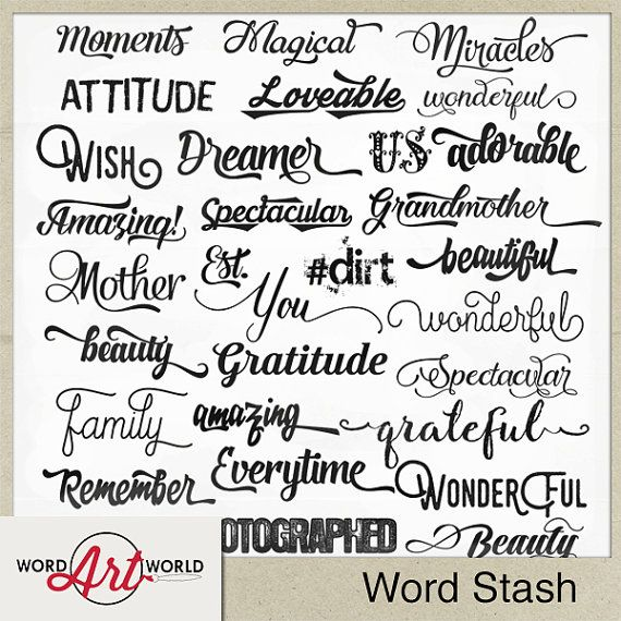 Digital And Printable Overlay Word Art Set Instant Download