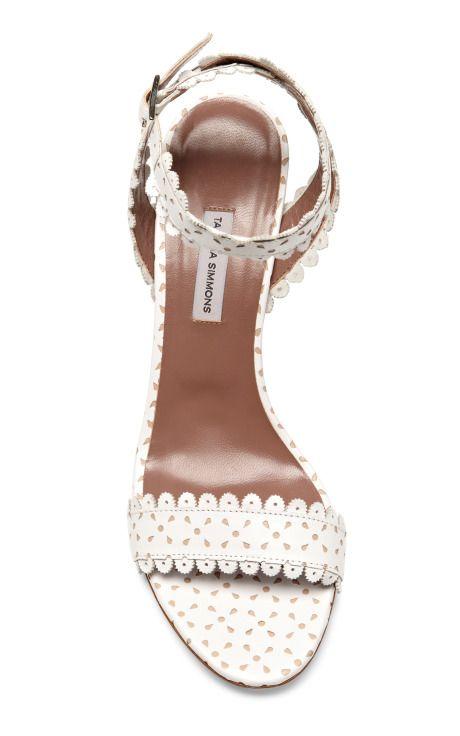 Scalloped-Leather Block-Heel Sandals by Tabitha Simmons - Moda Operandi
