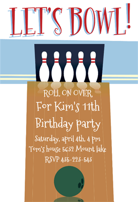 bowling party invitations templates